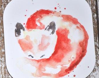Watercolor Fox Coaster, Wooden Coaster, Square Coaster, Animal Coaster, Original Art Print Coaster, Modern Home Decor, Gift for Her