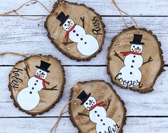 Snowman Christmas Ornament Wood Slice Hand Painted Rustic Tree Ornament Hanging made to order, custom add name,Holiday Christmas Ornament