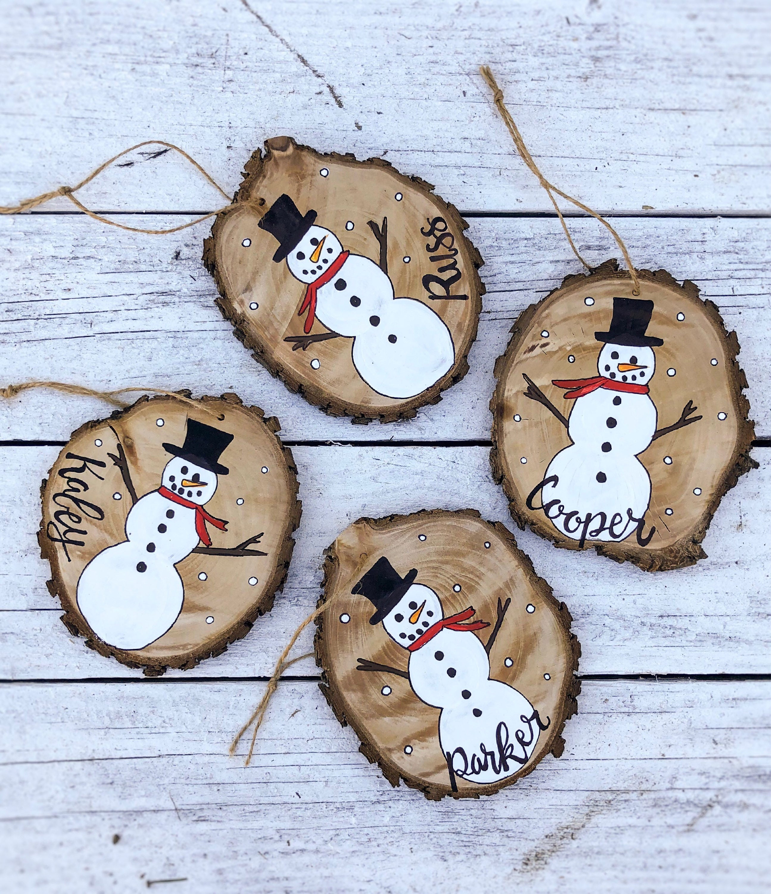 Snowman Christmas Ornament Wood Slice Hand Painted Rustic Tree