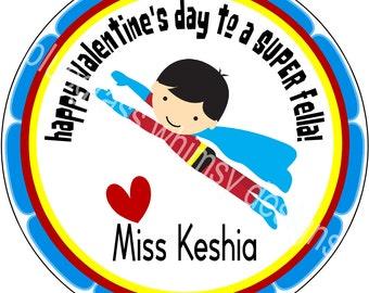 """2.5"""" Round Sticker for Goodie Bags- Valentine, From Teacher"""
