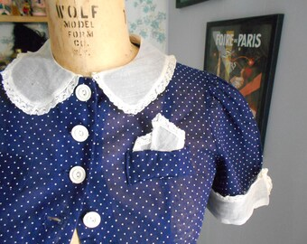 Cute 1930's Navy Blue Dotted Swiss Blouse
