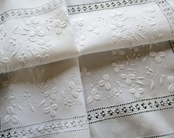 Antique Irish Linen Cloth - Beautiful Hand Worked Whitework Embroidery  with Shamrocks Drawn Thread Inner Border