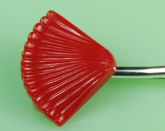 Vintage Lucite Red Fan Hairpin