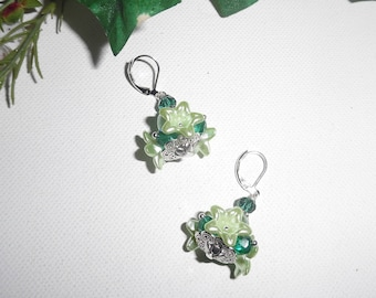 Earrings flowers lime with green Crystal beads