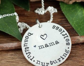 Mama-Halskette, Geschenk für Mutter, Muttertagsgeschenk, Sterling Silber Halskette, Geschenk für Mama, von Hand gestempelt Halskette für Mama, anregender Geschenk