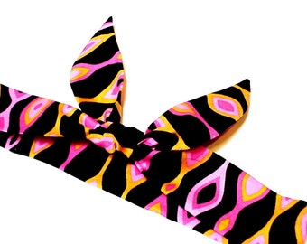 Cooling Neck Bandana, Gel Neck Cooler Scarf, Stay Cool Tie Wrap Body Head Heat Relief Headband, Abstract Stripe Black Orange Pink iycbrand