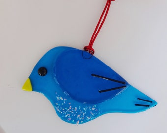 Fused Glass Bird Suncatcher, Blue Fused Glass Bird, Garden Art, Blue Stained Glass Bird Suncatcher, Blue Bird Ornament