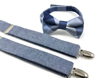 Blue Chambray suspenders set for boys, toddlers, babies and youth. Blue bow tie and suspenders set