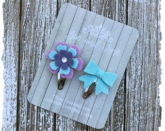 READY TO SHIP, Lavender Periwinkle Aqua Wool Felt Flower Mini Bow Clip Set, Baby Clips, Infant Girls Adult Mini Snap Clips