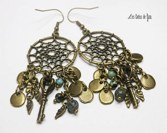 Dream catcher earrings made of metal and glass beads • • Bronze, two models to choose • spirit stairs-steampunk