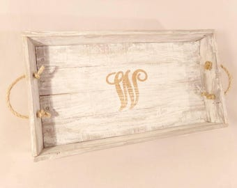 Farmhouse Whitewash Decorative Tray