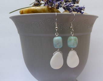 Turquoise and Freshwater shell Earrings-Zoe