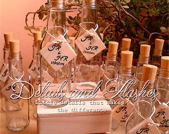 50 Wedding Favours bottles - Custom Wedding Favor - beach wedding favors - Invitation bottle tags - wood baby shower bottle
