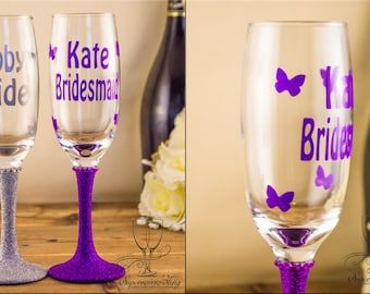 Glitter CHAMPAGNE Butterflies - personalised|glass|glasses|bride|bridesmaid|gift|Mother of the Bride, Groom|Bridal|Bridesmaids|wedding gift|