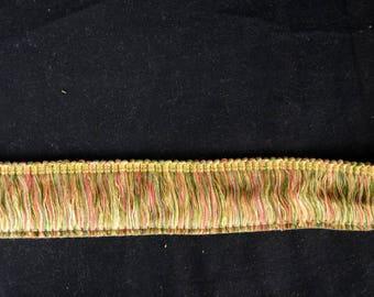 Green Gold Red Brush Fringe Trim