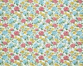 Retro Wallpaper by the Yard 70s Vintage Wallpaper - 1970s Mini Floral with Pink Blue and Yellow Flowers on White