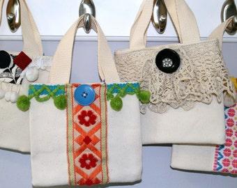 Tote Bag Vintage Fabrics Mini Orange OOAK