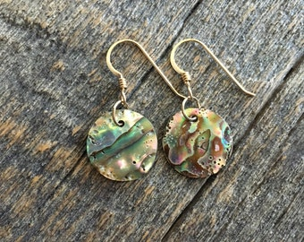 Gold filled Paua shell earrings