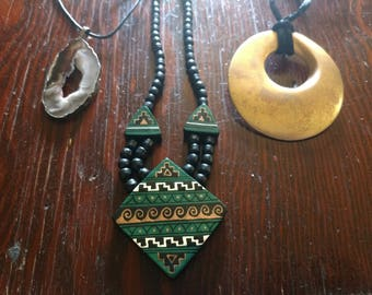 Choice from Vintage Wood Metal Stone Necklaces