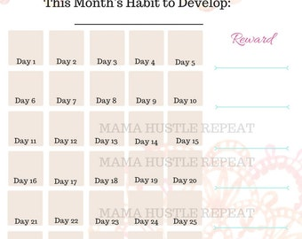 New Habit Tracker - Monthly Habit Tracker - Goal Tracker