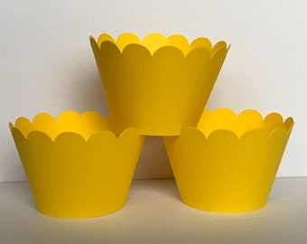 Solid Yellow Cupcake Wrappers, Party decorations, cupcake holders, party supplies, cupcake wraps, cupcake sleeves, paper goods, baby shower