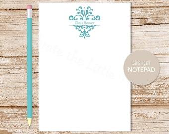 personalized damask notepad . damask note pad . personalized stationery . custom stationary