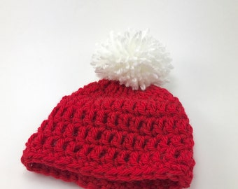 0-3 months hat, crochet baby hat with pom pom, baby boy hat, baby girl hat, red hat, crochet baby hat, baby hat