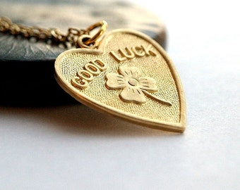 Good Luck heart Necklace gold plated brass charm on a delicate gold plated chain