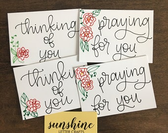 4-pk of Hand-lettered cards // encouragement variety pack, thinking of you, praying for you, floral, encouragement, friendship