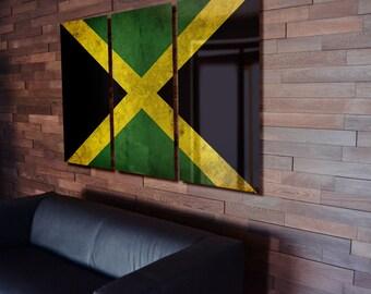 Triptych Jamaica Flag hanging Rustic Worn Metal Wall Art Grunge