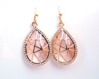 Peach Earrings, Champagne Earrings, Gold Earrings, Glass, Wedding, Bridesmaid Earrings, Bridal Earrings Jewelry, Bridesmaid Gifts