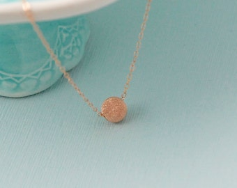 14K Rose Gold Stardust necklace / Rose gold minimalist necklace / Stardust bead