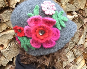 Grey Wool Cloche with Flowers