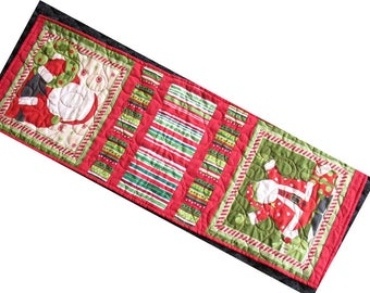 Santa Claus Table Runner Christmas Table Topper Red and Green St. Nick Quiltsy Handmade Texas Friends Team