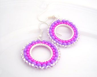 Hot Pink Earrings, Neon Earrings, Beaded Hoop Earrings, Handmade Beaded Jewelry