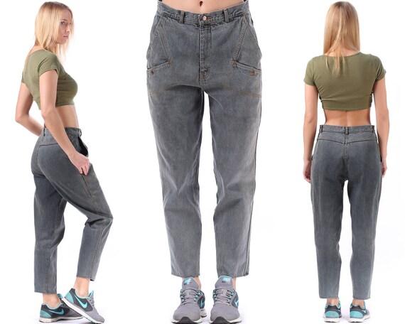 80s Baggy Black Denim Pants Tapered Mom Jeans at6m6p