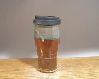 22 oz , To Go Mug ,Handmade Pottery, Mug With Lid , Ceramic Travel Mug , Commuter Mug , Pottery Travel Mug , Eco Mug , Reusable Silicone Lid