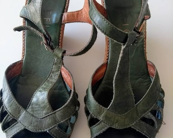 Vintage Green leather wedge sandals.