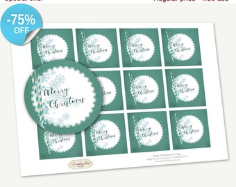 "75% OFF SALE Printable Favor Tags ""Merry Christmas"", Printable Christmas Tag, Cupcake Toppers, Printable Supplies, Stickers, Happy New Year"