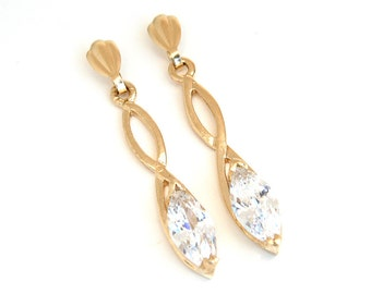 Solid 9ct Gold Cubic Zirconia Marquise cut long Earrings Gift Boxed D1408