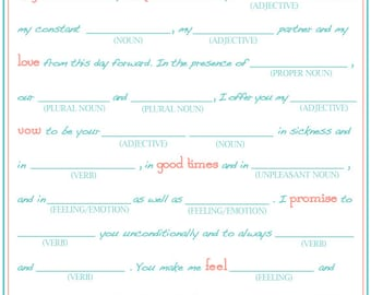 Bridal Shower Mad Libs, Funny Shower Game, Write Your Vows Game, Love Libs Shower game