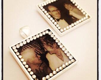 Wedding Bridal Picture - Bouquet Photo Charm - Boutonniere Memory - Picture Charm - Bridal Bouquet
