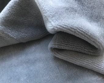 Bamboo Organic Cotton Velour - Dove Grey