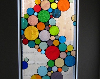 """Contemporary Stained Glass Hanging Panel / """"Wave of Color"""" (W-10)"""