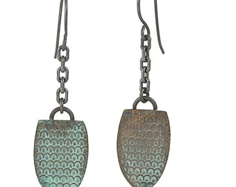 Rustic Sea Green-Jade Textured Drop-Dangles