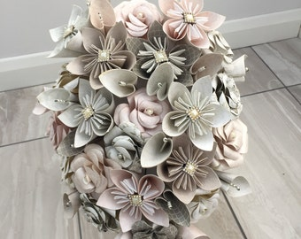 Winter flower bridal bouquet, paper flower cascade bouquet, wedding bouquet, bride bouquet, paper flower bouquet, wedding flowers