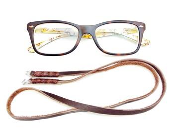 Eyeglass chain, Eyeglass Lanyard, Brown leather cord Eye Glass, Chain for Glasses, Eyeglass Holder, Eyeglass cord, Brown Leather Glass Chain
