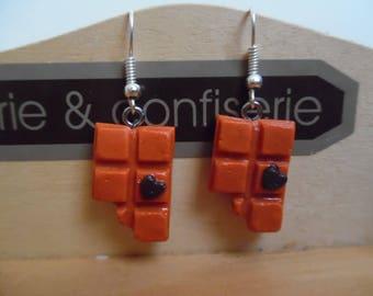 Pierced earrings polymer clay waffles