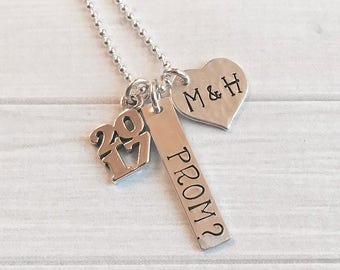 Prom Necklace - Promposal Jewelry - Custom Formal Invitation - Personalized Cotillion Necklace - Homecoming Invite Jewelry