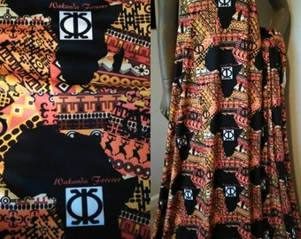 "Wakanda Forever African Spandex fabric 18""x 59"" African Fabric, High Performance stretch fabric for Swimwear, leggings, dresses"
